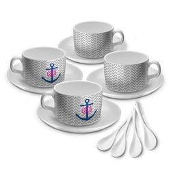 Monogram Anchor Tea Cup - Set of 4 (Personalized)