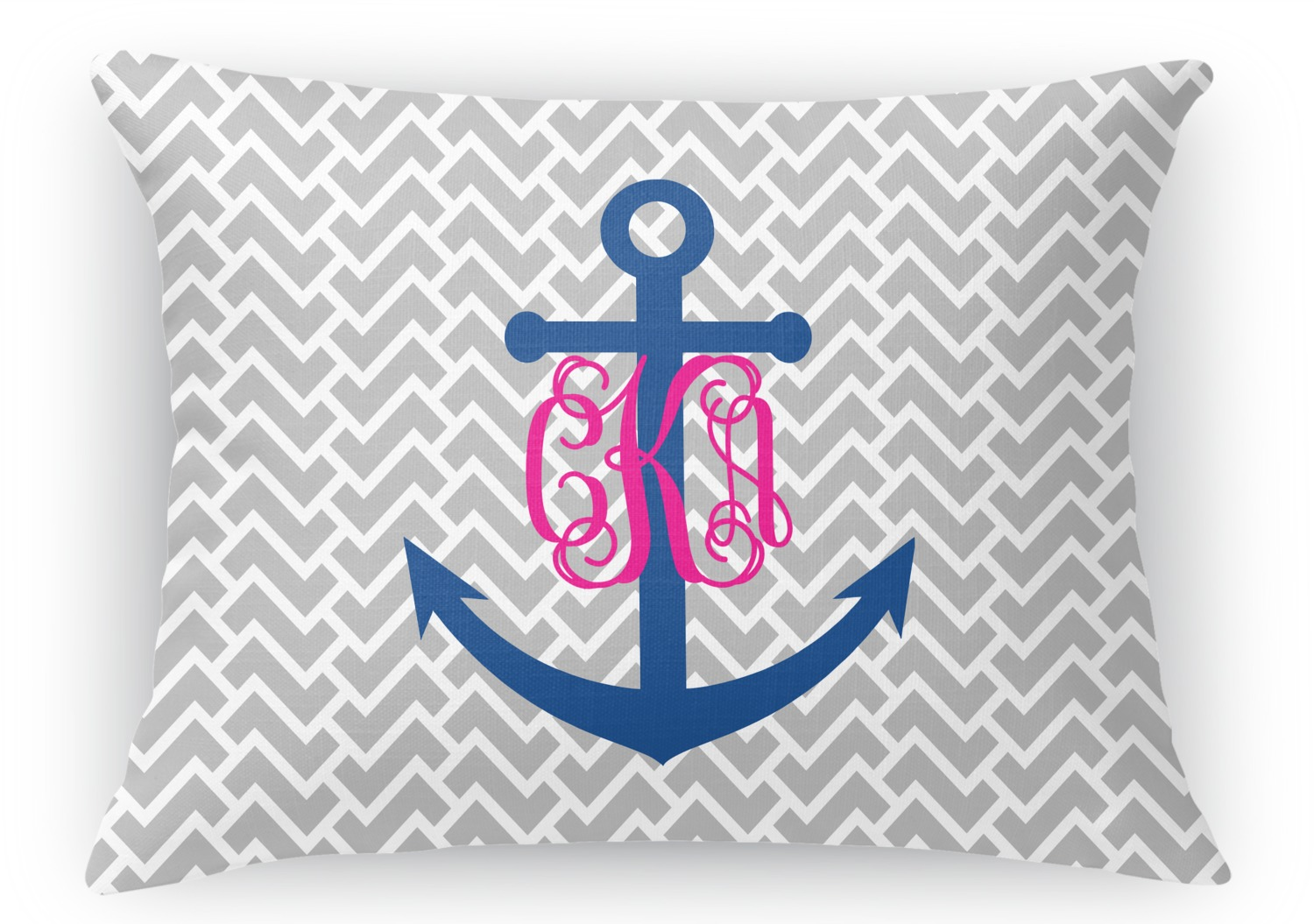 Monogram Anchor Rectangular Throw Pillow Case