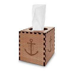 Monogram Anchor Wooden Tissue Box Cover - Square (Personalized)