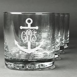 Monogram Anchor Whiskey Glasses (Set of 4) (Personalized)