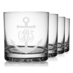 Monogram Anchor Whiskey Glasses (Set of 4) (Personalized)