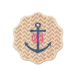Monogram Anchor Genuine Wood Sticker (Personalized)