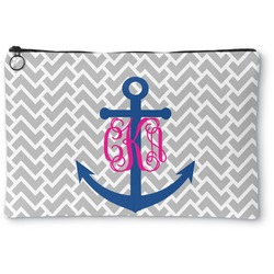 Monogram Anchor Zipper Pouch (Personalized)