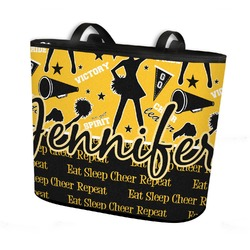 Cheer Bucket Tote w/ Genuine Leather Trim (Personalized)