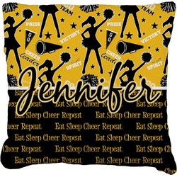"""Cheer Faux-Linen Throw Pillow 16"""" (Personalized)"""