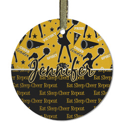 Cheer Flat Glass Ornament - Round w/ Name or Text