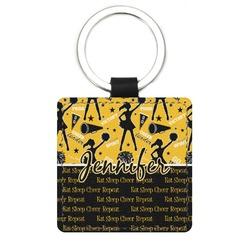 Cheer Genuine Leather Rectangular Keychain (Personalized)