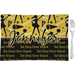 Cheer Rectangular Glass Appetizer / Dessert Plate - Single or Set (Personalized)