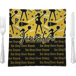 "Cheer Glass Square Lunch / Dinner Plate 9.5"" - Single or Set of 4 (Personalized)"