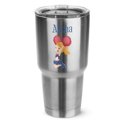 Cheerleader 30 oz Silver Stainless Steel Tumbler w/Full Color Graphics (Personalized)