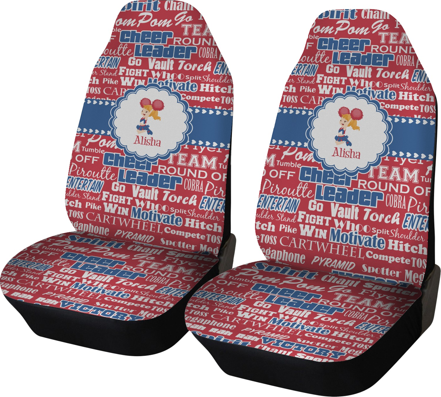 Cheerleader Car Seat Covers Set Of Two Personalized Youcustomizeit