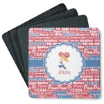 Cheerleader 4 Square Coasters - Rubber Backed (Personalized)