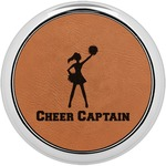 Cheerleader Cognac Leatherette Round Coaster w/ Silver Edge (Personalized)
