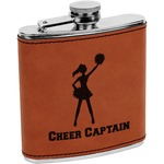Cheerleader Cognac Leatherette Wrapped Stainless Steel Flask (Personalized)