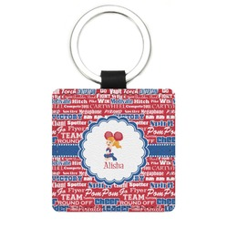 Cheerleader Genuine Leather Rectangular Keychain (Personalized)