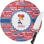 Cheerleader Round Glass Cutting Board (Personalized)