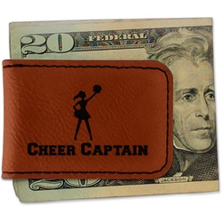 Cheerleader Leatherette Magnetic Money Clip (Personalized)