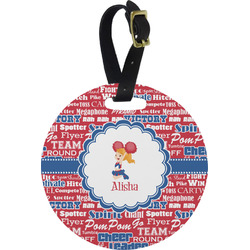 Cheerleader Plastic Luggage Tag - Round (Personalized)