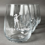 Cheerleader Wine Glasses (Stemless Set of 4) (Personalized)