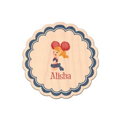 Cheerleader Genuine Maple or Cherry Wood Sticker (Personalized)