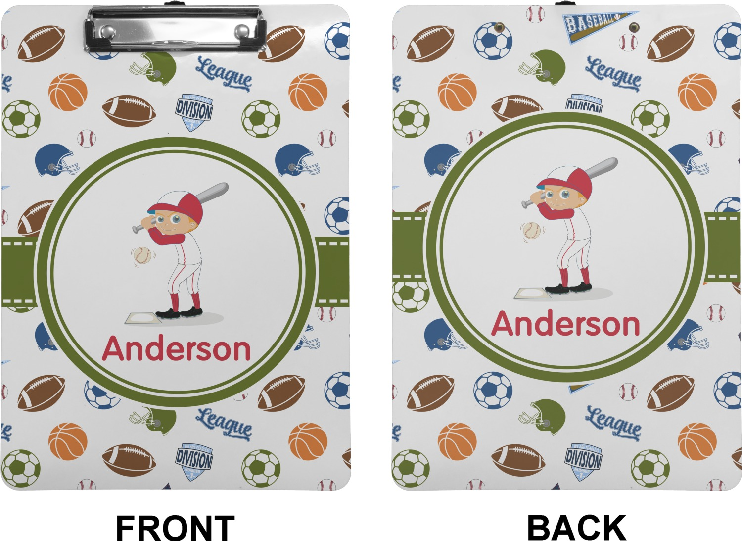 Sports Clipboard Letter Size Personalized