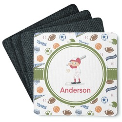 Sports 4 Square Coasters - Rubber Backed (Personalized)