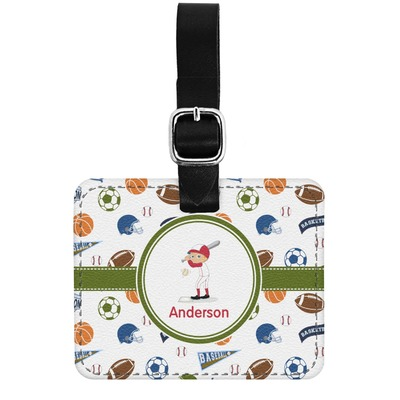 Sports Genuine Leather Luggage Tag w/ Name or Text