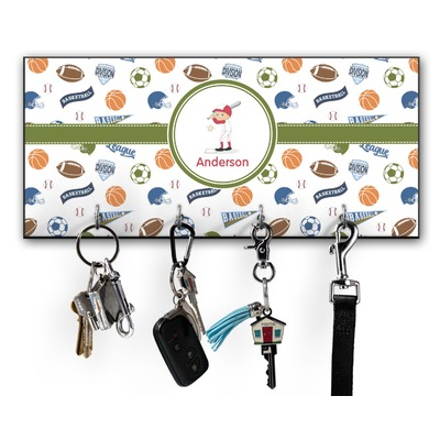 Sports Key Hanger w/ 4 Hooks w/ Graphics and Text