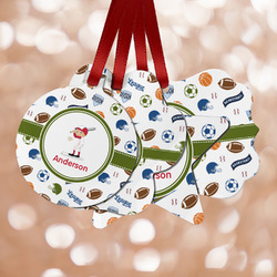 Sports Metal Ornaments - Double Sided w/ Name or Text