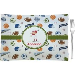 Sports Rectangular Glass Appetizer / Dessert Plate - Single or Set (Personalized)