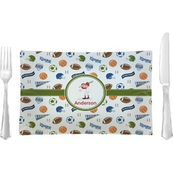 Sports Glass Rectangular Lunch / Dinner Plate - Single or Set (Personalized)