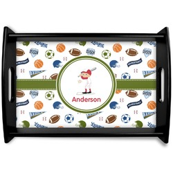Sports Black Wooden Tray (Personalized)