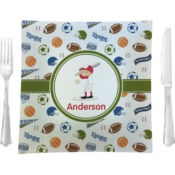 "Sports Glass Square Lunch / Dinner Plate 9.5"" - Single or Set of 4 (Personalized)"