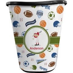 Sports Waste Basket - Double Sided (Black) (Personalized)
