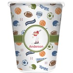 Sports Waste Basket - Single Sided (White) (Personalized)
