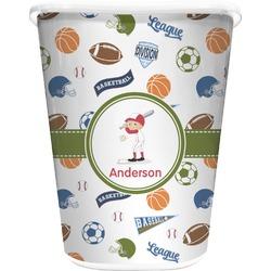 Sports Waste Basket - Single Sided (White) (Personalized)