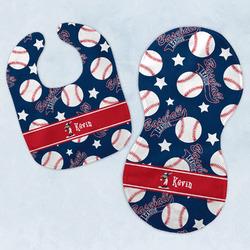 Baseball Baby Bib & Burp Set w/ Name or Text