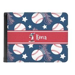 Baseball Genuine Leather Men's Bi-fold Wallet (Personalized)