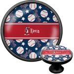 Baseball Cabinet Knob (Black) (Personalized)