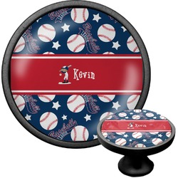 Baseball Cabinet Knob (Black) (Personalized)