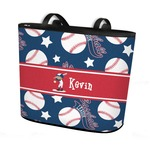 Baseball Bucket Tote w/ Genuine Leather Trim (Personalized)