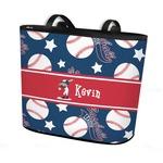 Baseball Bucket Tote w/ Genuine Leather Trim (Personalized)