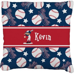 """Baseball Faux-Linen Throw Pillow 26"""" (Personalized)"""