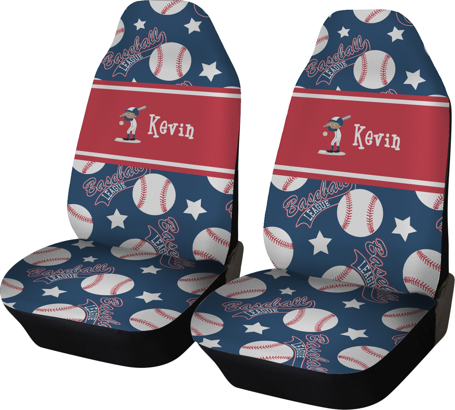 Baseball Car Seat Covers Set Of Two Personalized