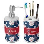Baseball Bathroom Accessories Set (Ceramic) (Personalized)
