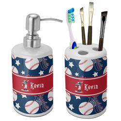 Baseball Bathroom Accessories Set (Ceramic) (Personalized)