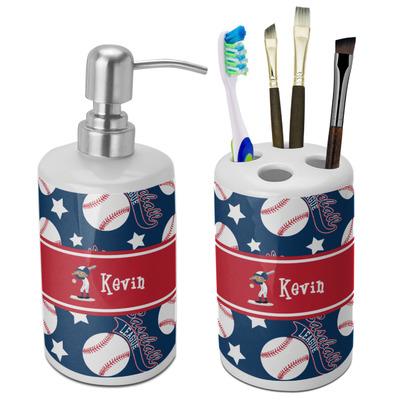 Baseball Ceramic Bathroom Accessories Set (Personalized)