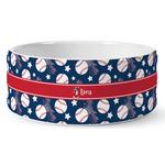 Baseball Ceramic Dog Bowl (Personalized)