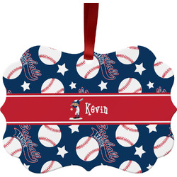 Baseball Metal Frame Ornament - Double Sided w/ Name or Text
