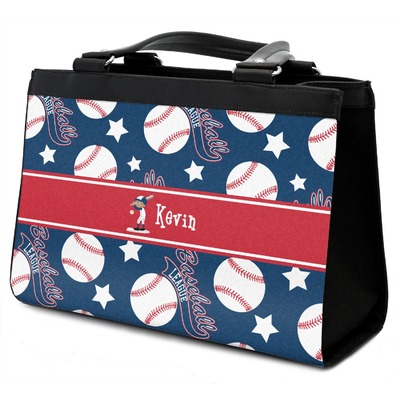 Baseball Classic Tote Purse w/ Leather Trim w/ Name or Text